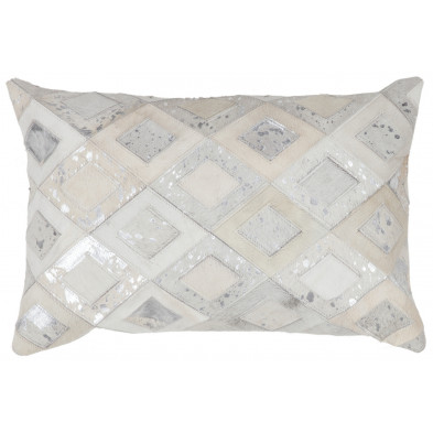 Coussin et oreiller gris vintage tissé à la main en cuir véritable L. 60 x P. 40 x H. 2,5 cm collection Threatening