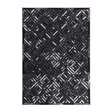 Tapis vintage en cuir véritable gris avec des motifs géométrique  L. 150 x P. 80 x H. 0,8 cm Collection  Zeke