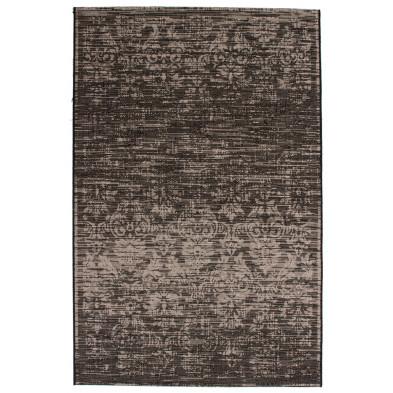 Tapis vintage gris en polypropylène bcf avec des motifs rayé L. 290 x P. 200 x H. 0,5 cm Collection Kolbermoor