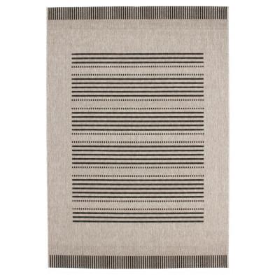 Tapis moderne gris en polypropylène bcf avec des motifs rayé L. 150 x P. 80 x H. 0,5 cm Collection Alger