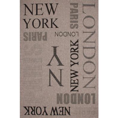 Tapis moderne gris en polypropylène bcf avec des motifs graphique L. 290 x P. 200 x H. 0,5 cm Collection Noordam