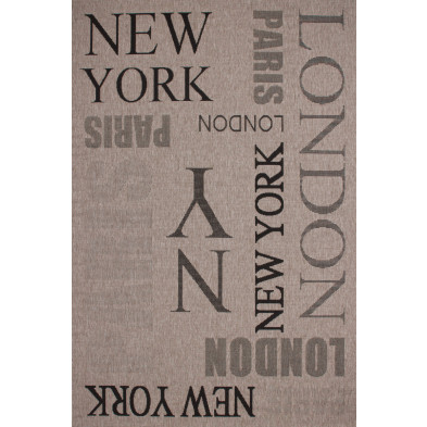 Tapis moderne gris en polypropylène bcf avec des motifs graphique L. 150 x P. 80 x H. 0,5 cm Collection Noordam
