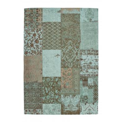 Tapis retro & patchwork bleu vintage tissé à la main en coton chenille . 230 x P. 160 x H. 1 cm  collection Naomie