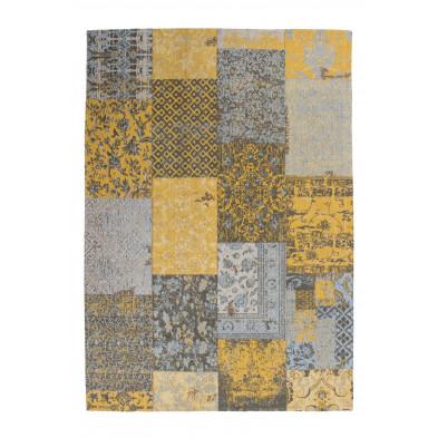 Tapis retro & patchwork jaune vintage tissé à la main en coton chenille L. 170 x P. 120 x H. 1 cm  collection Naomie