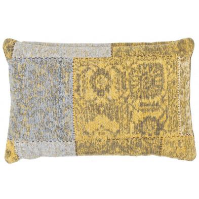 Coussin et oreiller jaune vintage tissé à la main en coton chenille L. 60 x P. 40 x H. 0 cm collection Naomie