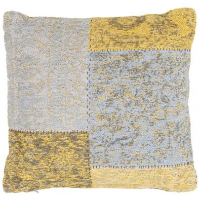 Coussin et oreiller jaune vintage tissé à la main en coton chenille L. 45 x P. 45 x H. 0 cm collection Naomie