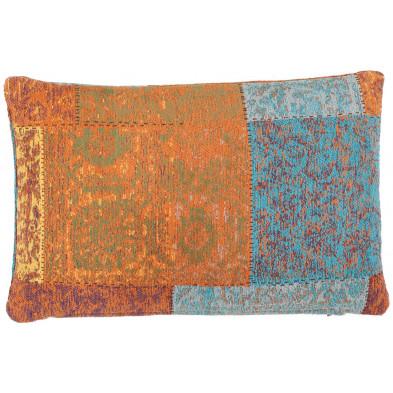 Coussin et oreiller multicouleur vintage tissé à la main en coton chenille L. 60 x P. 40 x H. 0 cm collection Naomie