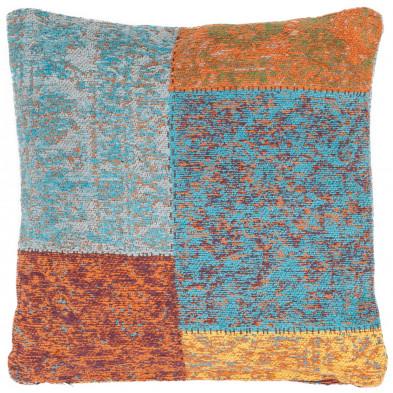Coussin et oreiller multicouleur vintage tissé à la main en coton chenille L. 45 x P. 45 x H. 0 cm collection Naomie