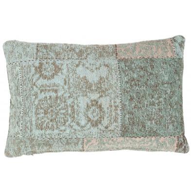 Coussin et oreiller bleu vintage tissé à la main en coton chenille L. 60 x P. 40 cm collection Naomie