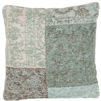 Coussin et oreiller bleu vintage tissé à la main en coton chenille L. 45 x P. 45 cm collection Naomie