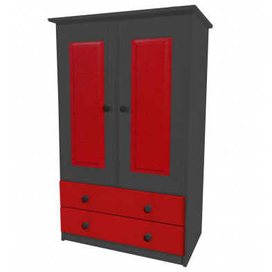 Armoire enfant contemporaine rouge en bois massif  L. 86 x H. 136 cm collection Genoveffa