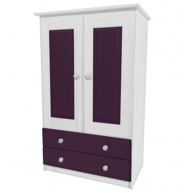 Armoire enfant contemporaine violet  en bois massif L. 86 x H. 136 cm collection Genoveffa