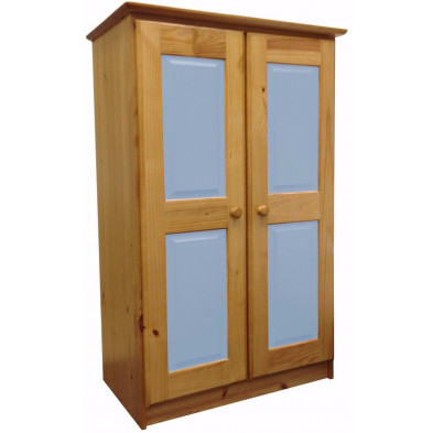Armoire enfant bleu contemporaine en bois massif pin L. 49 x H. 136 cm collection Genoveffa