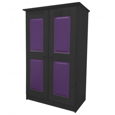Armoire enfant contemporaine violet en bois massif pin collection Genoveffa