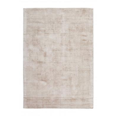 Tapis design beige en viscose avec des motifs uni L. 290 x P. 200 x H. 0,9 cm Collection Jacintha