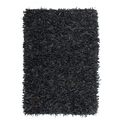 Tapis unicolore noir design tissé à la main en cuir véritable L. 230 x P. 160 x H. 5 cm  collection Seroa