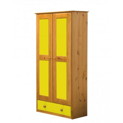 Armoire enfant contemporaine jaune en bois massif   L. 86 x H. 196 cm collection Genoveffa