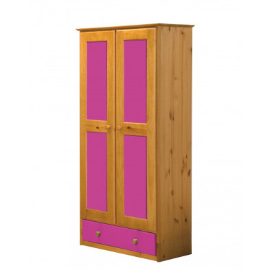 Armoire enfant contemporaine fuchsia  en bois massif   L. 86 x H. 196 cm collection Genoveffa