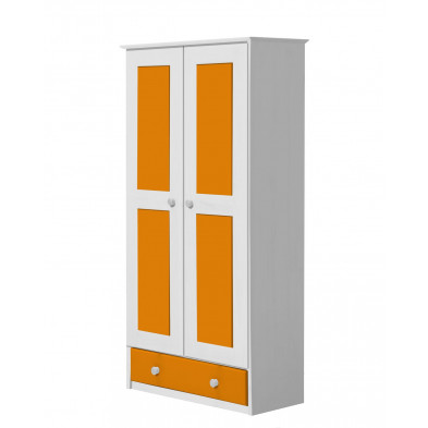 Armoire orange contemporaine  en bois massif    L. 86 x H. 196 cm collection Genoveffa
