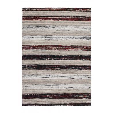 Tapis retro & patchwork gris vintage tissé à la main en 60% laine + 20% coton et 20% soie artificielle 170 cm de largeur collection Sobreda