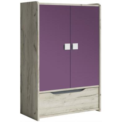Armoire 2 portes violet moderne en panneaux de particules de haute qualité L. 80 x P. 40 x H. 120 cm collection Ruijter