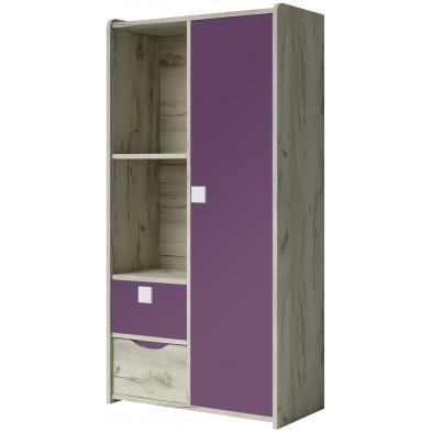 Armoire 2 portes violet moderne en panneaux de particules de haute qualité L. 80 x P. 40 x H. 160 cm collection Ruijter