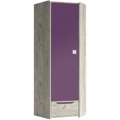 Armoire 1 porte violet moderne en panneaux de particules de haute qualité L. 80 x P. 80 x H. 197 cm collection Ruijter