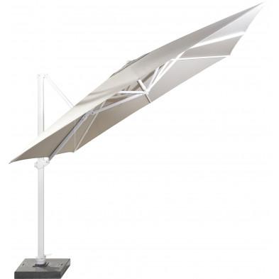 Parasol déporté en aluminium Ø 300 cm coloris Taupe et blanc collection Fideli