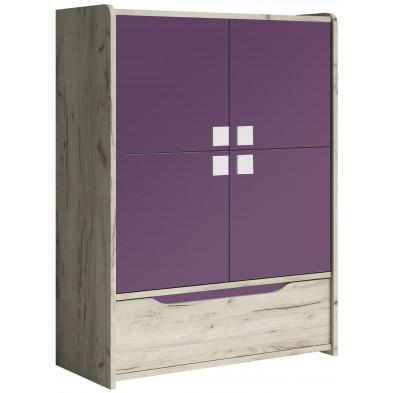 Armoire 2 portes violet moderne en panneaux de particules de haute qualité  L. 90 x P. 40 x H. 120 cm collection Ruijter