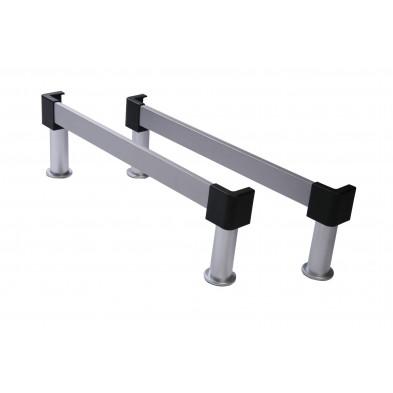 Set de 2 traverses grises 90 cm avec 4 pieds en sommier gris moderne en aluminium collection Gambellara