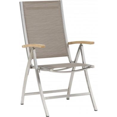 Chaise de jardin avec dossier haut empilable en acier coloris moka L. 59 x P. 45 x H. 108 cm collection Barclay
