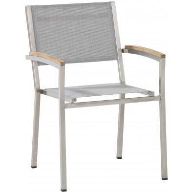 Chaise de jardin empilable en acier coloris gris cendré avec accoudoirs en teck L. 59 x P. 45 x H. 88 cm collection Barclay