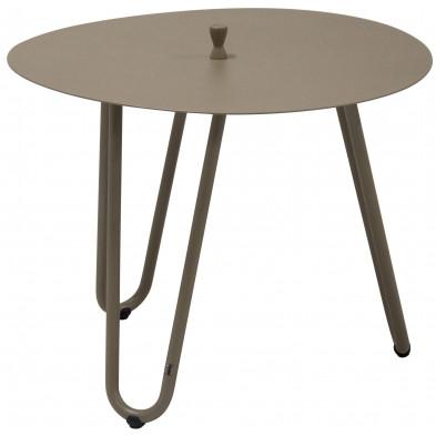 Table d'appoint de jardin design marron en aluminium L. 60 x H. 45 cm x P. 60 cm Collection Jamal