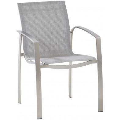 Chaise de jardin en acier et textilène coloris gris L. 60 x H. 86 cm collection Ciriaco