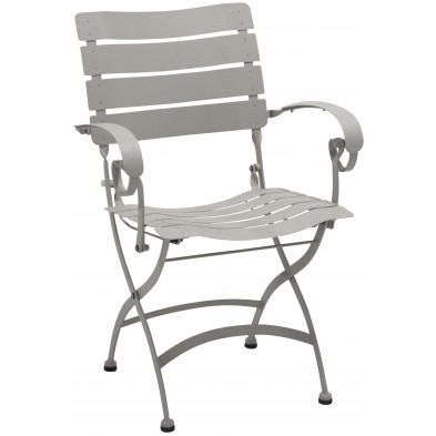 Chaise de jardin pliable en acier  coloris Seashell L. 58 x P. 5- x H. 84 cm collection Jabir