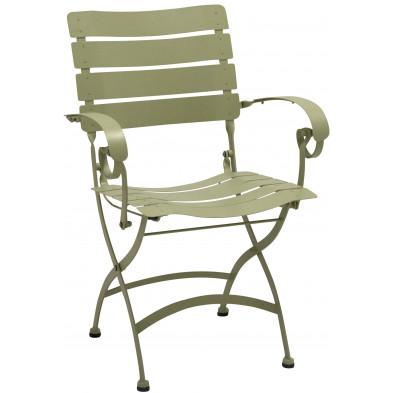 Chaise de jardin pliable en acier coloris olive L. 58 x P. 56 x H. 84 cm collection Jabir