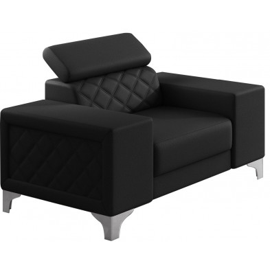 Fauteuils noir moderne en pvc polyester 1 place L. 129 x P. 94 x H. 67-100 cm collection LUGANO