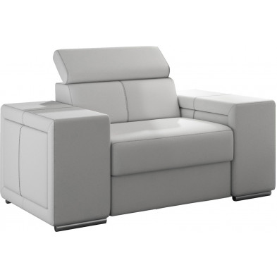 Fauteuils blanc moderne en pvc 1 place L. 127 x P. 96 x H. 67-100 cm collection SANDRA