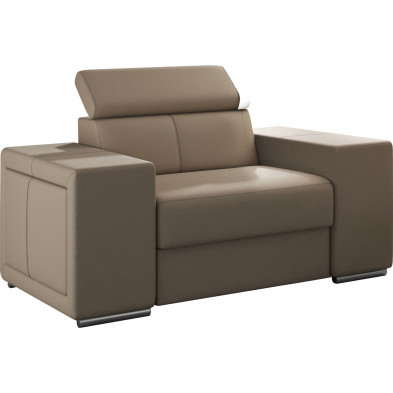 Fauteuils beige moderne en pvc 1 place L. 127 x P. 96 x H. 67-100 cm collection SANDRA
