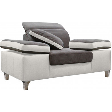 Fauteuils blanc design en acier polyester 1 place L. 130 x P. 95 x H. 66-96 cm collection SARA
