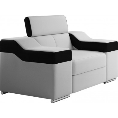 Fauteuils blanc design en pvc polyester 1 place L. 190 x P. 95-96 x H. 82-102 cm collection MIAMI