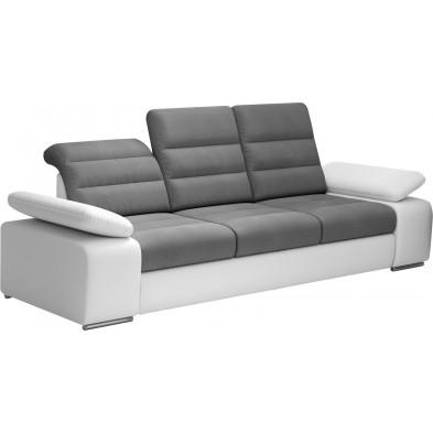 Canapés fixes blanc design en acier 3 places L. 242 x P. 95 x H. 86-100 cm collection BERGAMO