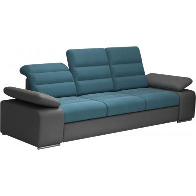 Canapés fixes bleu design en acier 3 places L. 242 x P. 95 x H. 86-100 cm collection BERGAMO