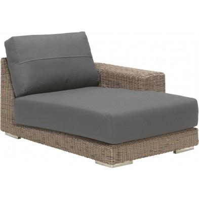 Canapé de jardin avec accoudoir à gauche en résine tressée coloris marron et gris L. 110 x P. 146 x H. 65 cm collection Savonera