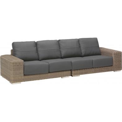 Canapé de jardin 4 places en résine tressée coloris marron et gris L. 300 x P. 90 x H. 65 cm collection Savonera