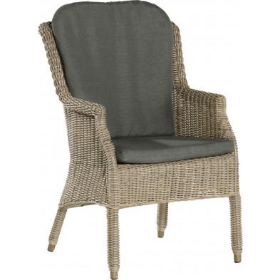Chaise de jardin en résine tressée coloris marron L. 70 x P. 60 x H. 96 cm collection Koenis