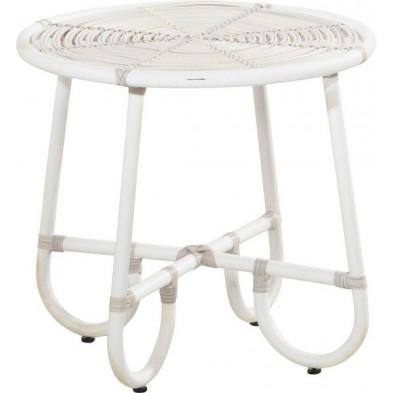 Table basse de jardin Ø 60cm en résine tressée coloris provance collection Digest