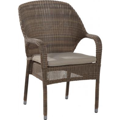 Chaise de jardin en résine tressée coloris taupe L. 63 x P. 46 x H. 93 cm collection Atchlench