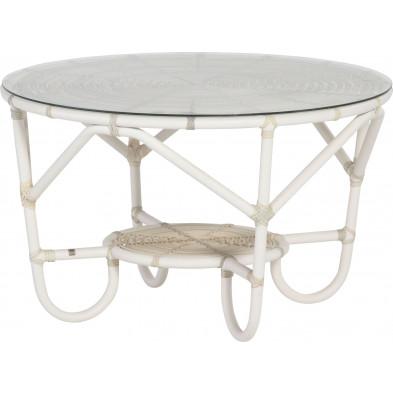 Table basse de jardin Ø 90cm coloris provance avec vitre incluse collection Begin