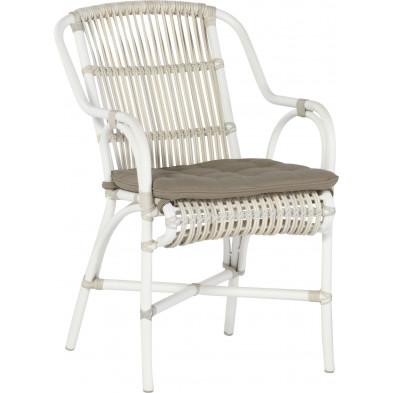 Chaise de jardin en résine tressée coloris taupe et blanc  L. 56 x P. 43 x H. 88 cm collection Digest